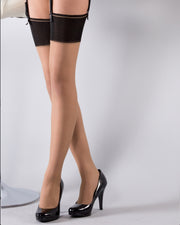Le Bourget Bas Retro 20 Denier Contrast Top Stockings
