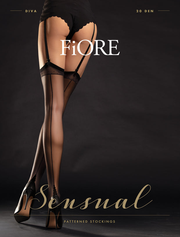 FiORE Diva Back Seamed and Point Heel Sheer Stockings 20 Denier