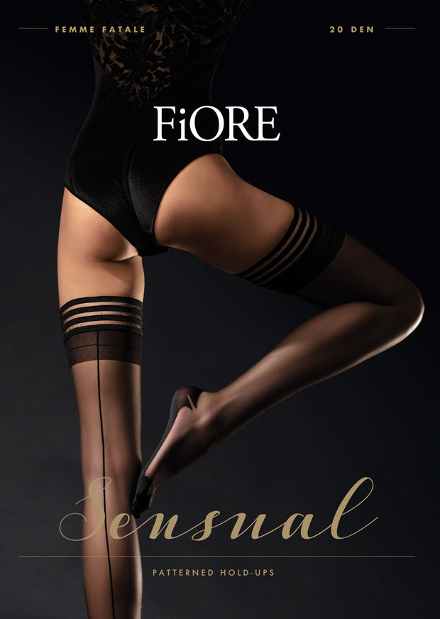 Femme Fatale Back Seam Hold Ups 20 Denier Sizes 2-6XXL
