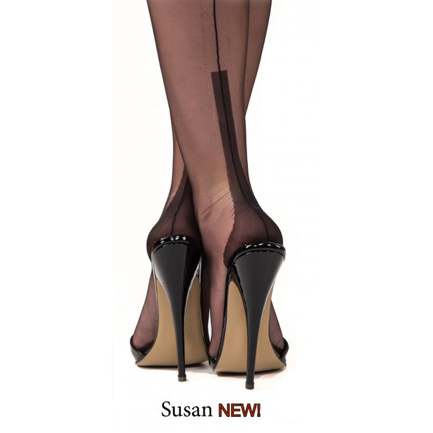 Gio Susan Heel Seamed Fully Fashioned Stockings 15 Denier - One Colour