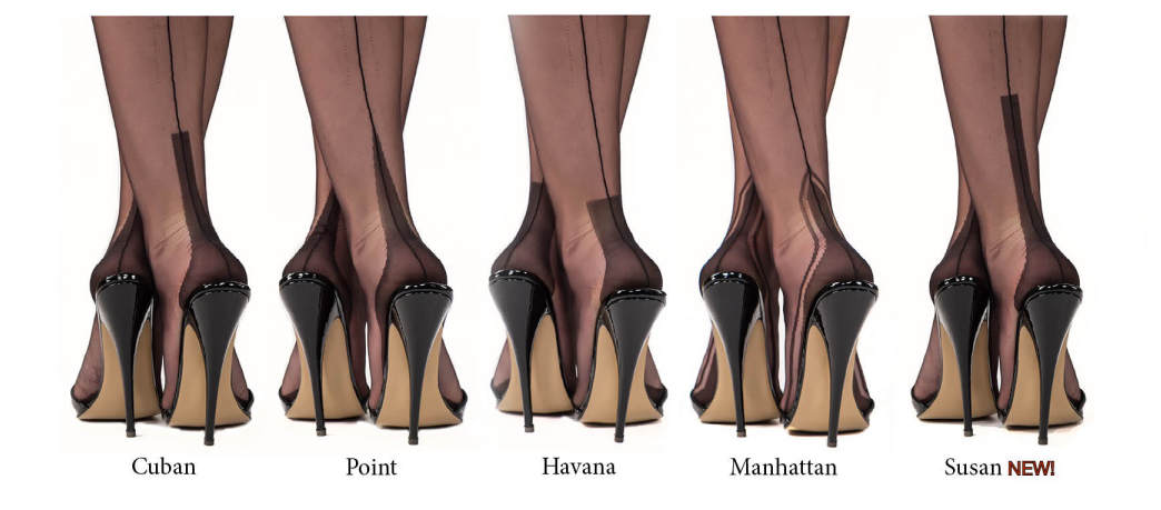 This Way to Heaven Cuban Heel Back Seam Hosiery Stocking Thigh Highs Adult Women