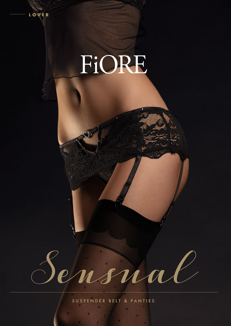 Fiore Lover Suspender Belt and Panty Set with faux Crystals and Heart Charm