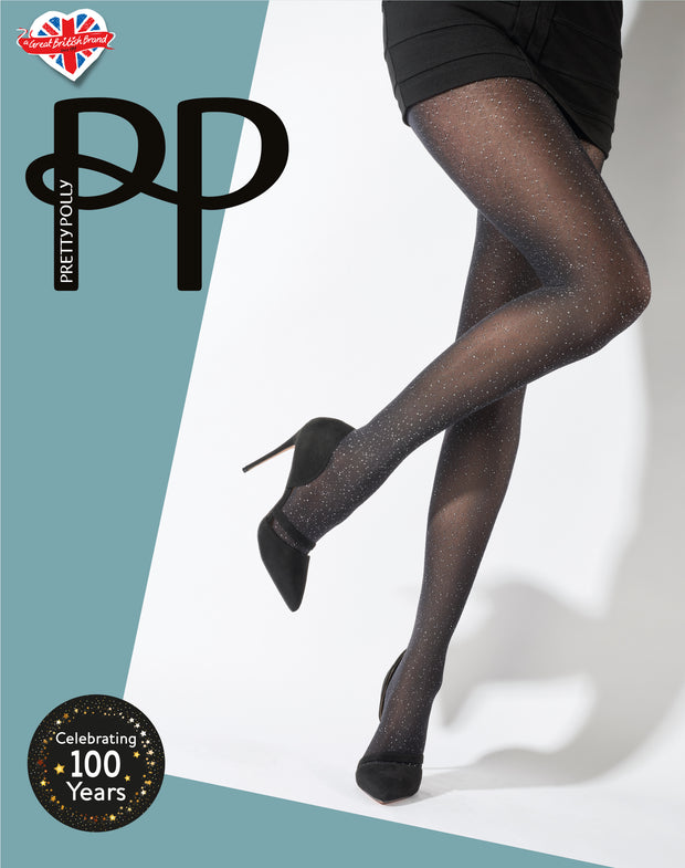 Pretty Polly Silver Scatter Print Opaque Tights 40 Denier