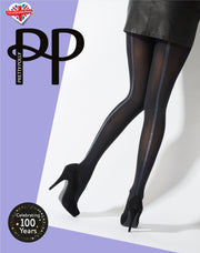 Pretty Polly Silver Stripe Back Seam Opaque Tights