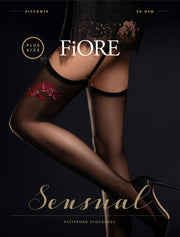 FiORE Piccante Sheer Stockings 20 Denier Red Floral Pattern