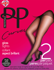 Pretty Polly Curves 15 Denier Gloss Tights 2 Pair Pack