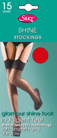 Super Shine Plain Welt top Stockings by Silky