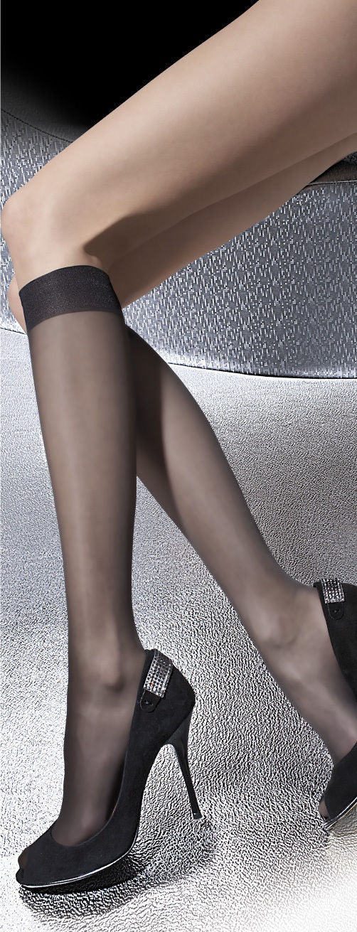 Fiore Pola 15 Denier Classic Sheer Soft Gloss Knee Highs 2 pair pack
