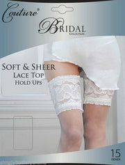 Couture Bridal Collection Soft & Sheer Lace Top Hold Ups 15 Denier Ivory White