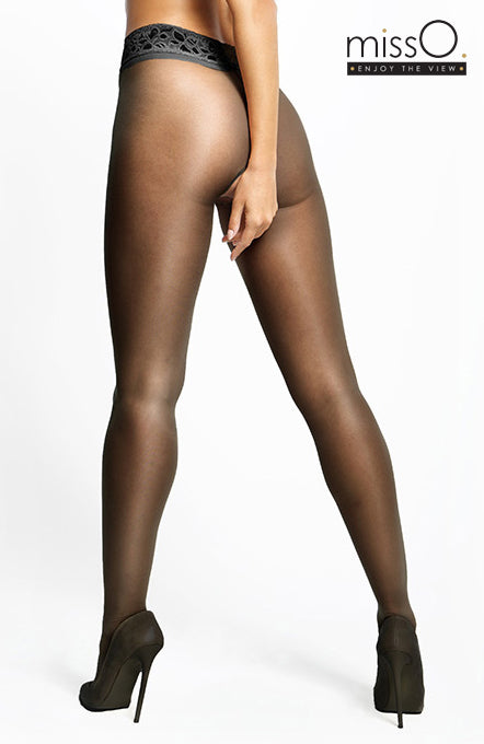 Miss O - Open gusset 20 Denier Gloss Tights with Lace Waist Band p105