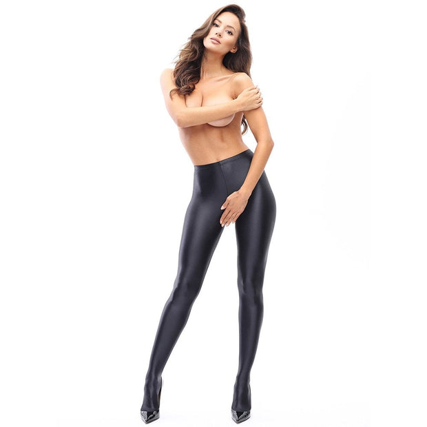 Open Gusset Crotchless Wet Look Gloss Tights 120 Denier P800