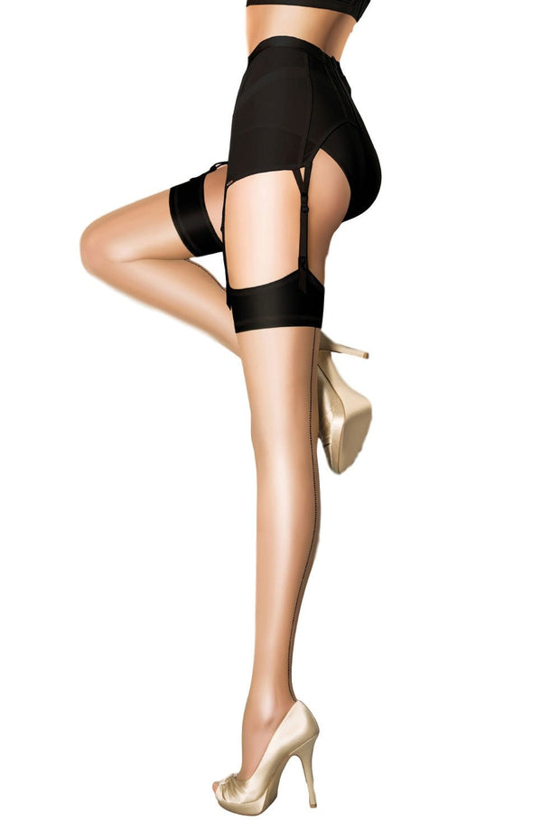 Pretty Polly Centenary Gloss Stocking One Size Nude with Black Welt and Backseam