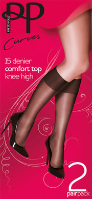 Pretty Polly 15 Denier Comfort Top Knee Highs