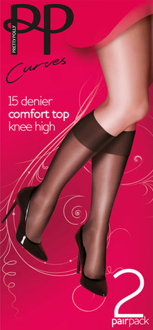 ac3fdeb9efe Pretty Polly 15 Denier Comfort Top Knee Highs