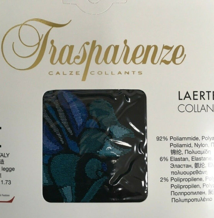Trasparenze Laerte Tights 60 Denier Opaque Cobalt Blues & Greens Rose Pattern