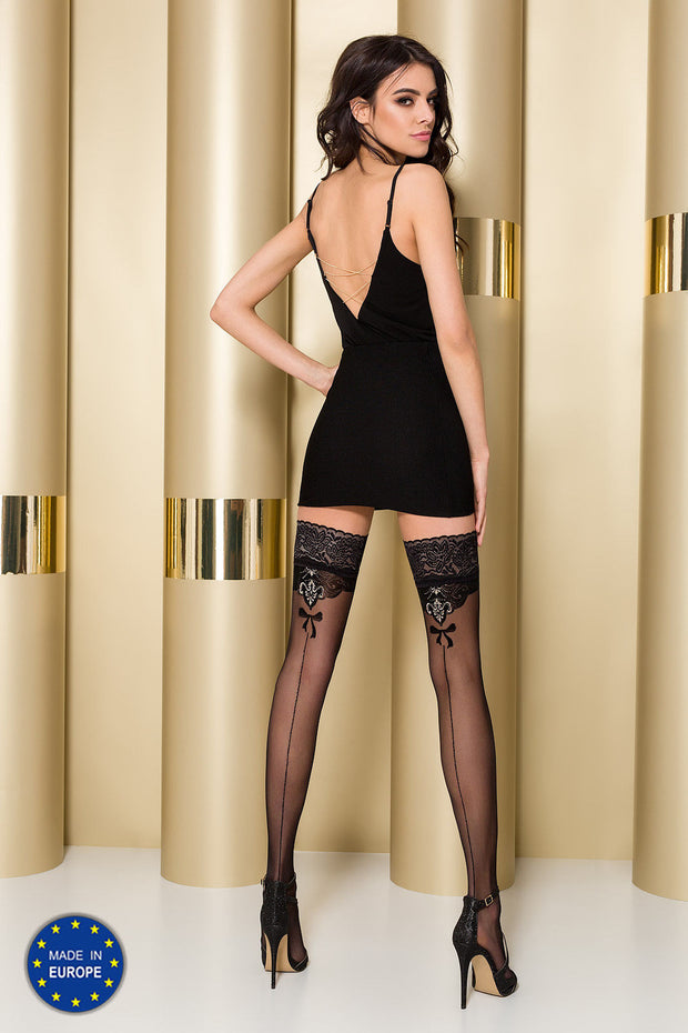 Passion ST103 Hold Ups Lace Tops Metallic thread highlighted Pattern & Back Seam