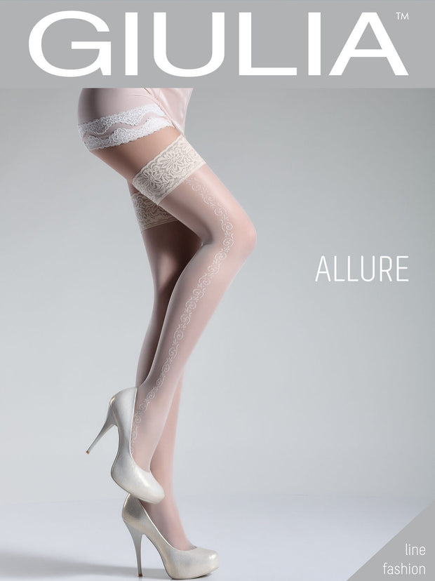 Giulia Allure 20 Denier Floral Side Seam Patterned Hold Ups Style 5