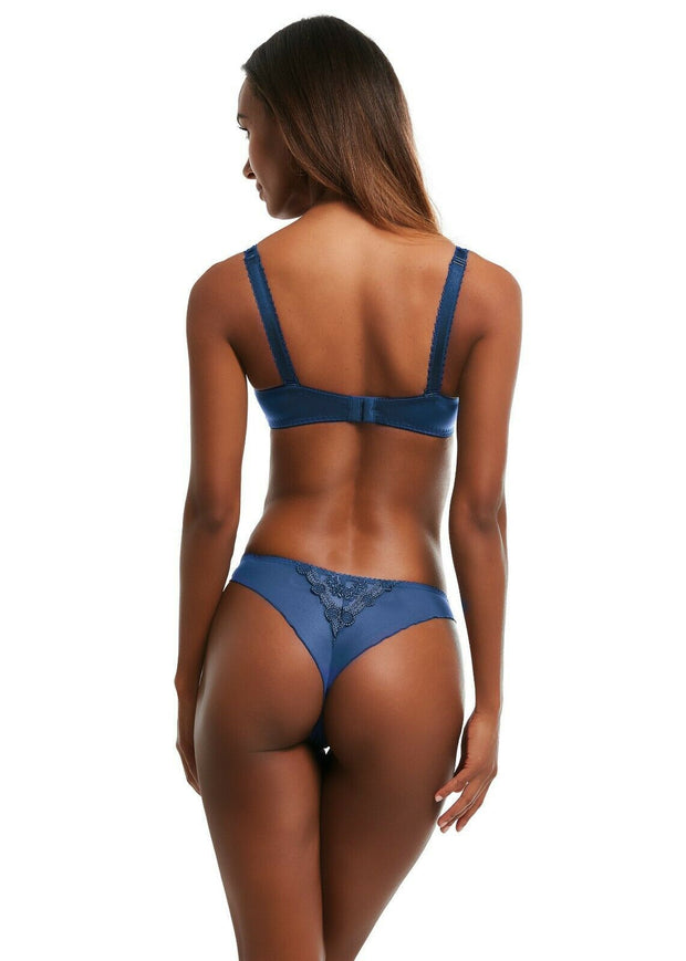 Kris Line Fortuna Thong Underwear Blue Denim 1 Pair Pack M - XL