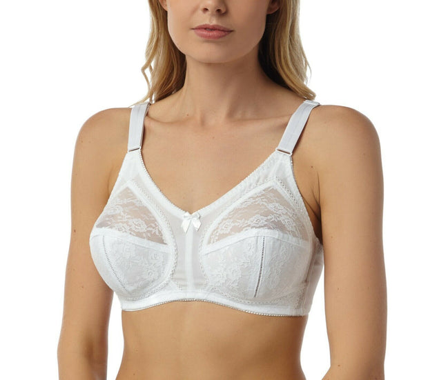 Marlon Firm Control No Underwire Bra in White 36-44 B C D E F