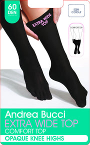 Andrea Bucci Extra Wide Comfort Top Opaque Knee High Socks 60 Denier