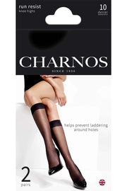 Charnos Run Resist Knee Highs 10 Denier 2 Pair Pack Trouser Socks