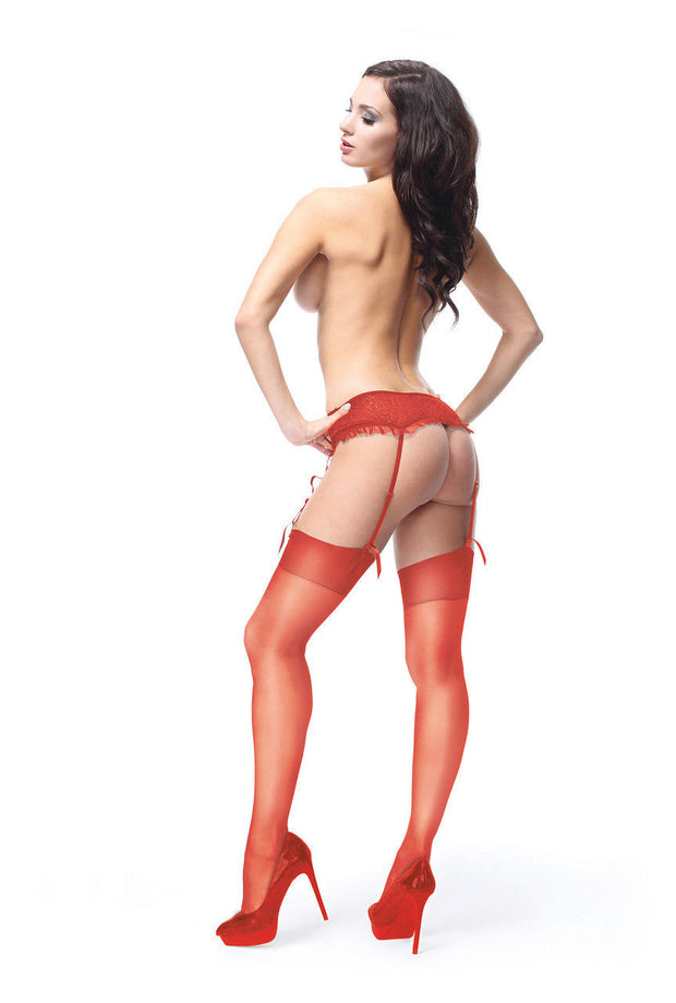Miss O Shiny 15 Denier Stockings NEW Raspberry RED Sizes S - XXL S101