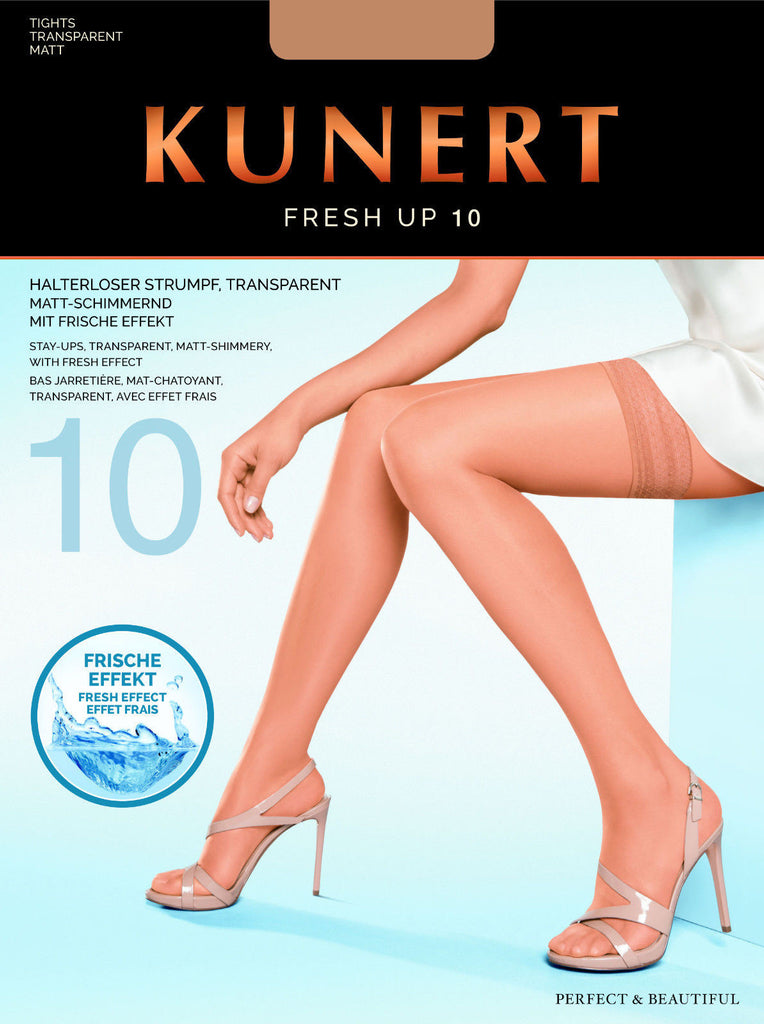Kunert Small Size Transparent 15 Denier Shimmery Lace Top Hold Ups Stockings