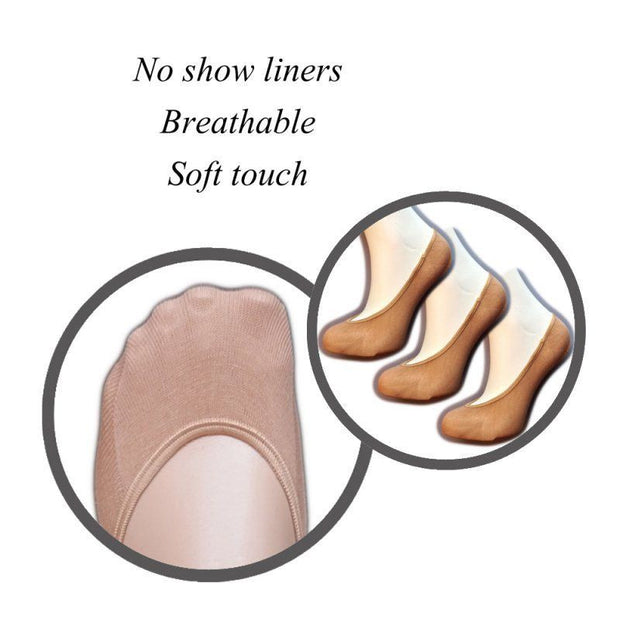 Silky Cotton Footsies No show liners for pumps and ballerina shoes 3 Pair Pack