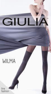Giulia Wilma 150 Denier Opaque Tights Cable Knit Effect Over the knee