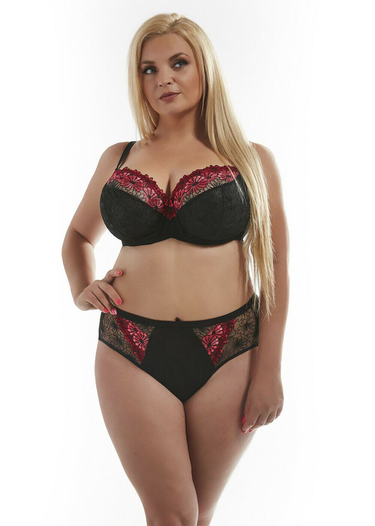 Kris Line Alice Soft Bra in Black and Red Back Size 34 - 40 Cup I - J