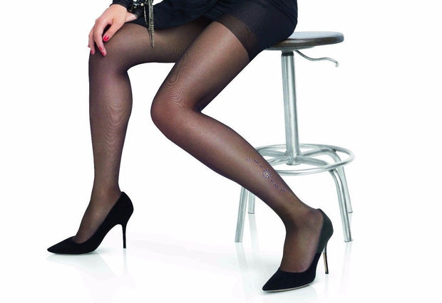 Le Bourget Collant Diamant Tights STW Embellished Blue stone SIlver pearl centre