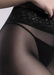 Giulia Impresso Rete Vision 40 Denier Faux Small Fishnet Lace Top Tights