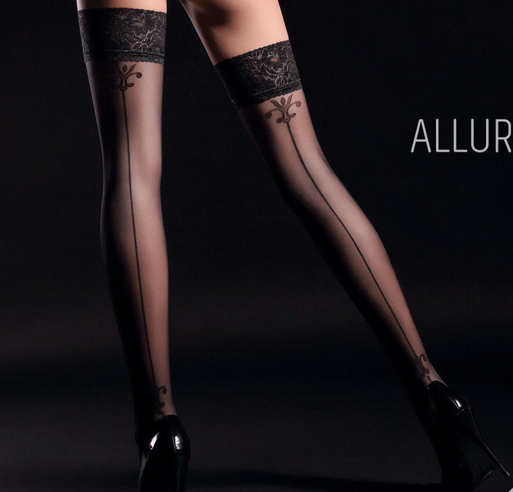 Giulia Allure 20 Denier Back Seam Patterned Hold ups Lace Top Style 4