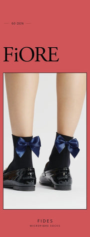 FiORE Fides Short Ankle High Socks 60 Denier Black with Dark Navy Bow