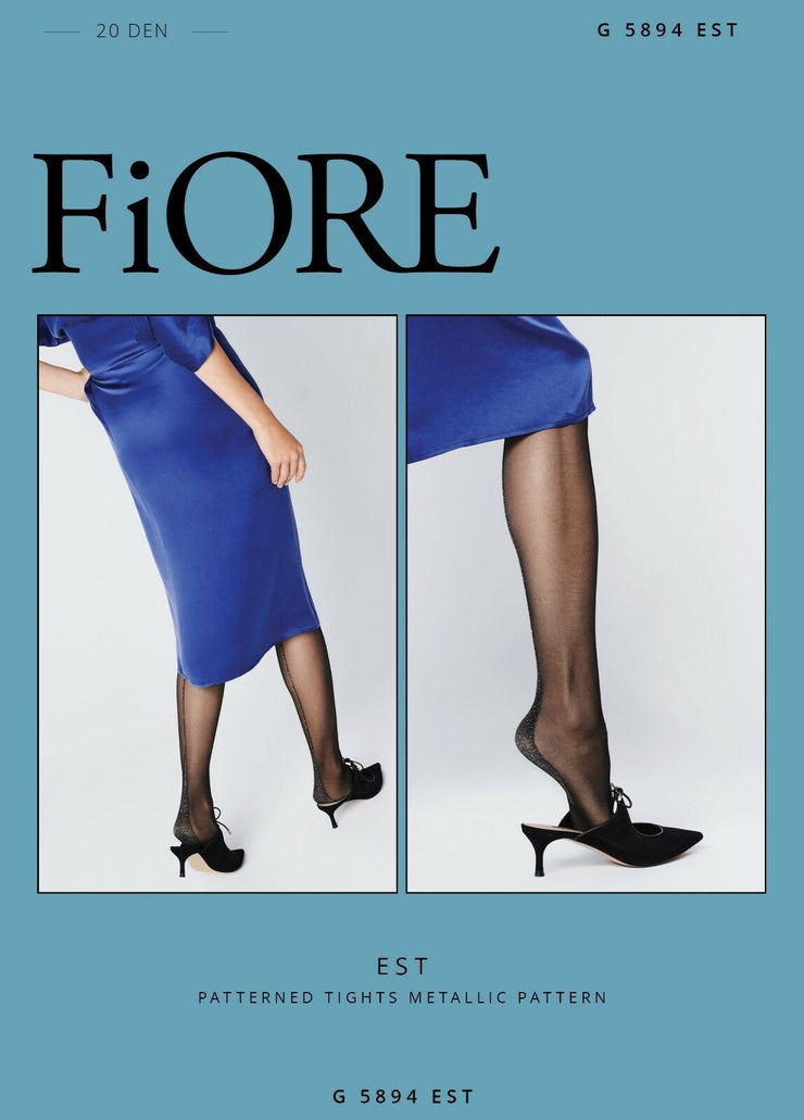 FiORE Est Silver Metallic back seam and Heel Sheer to Waist Tights 20 Denier