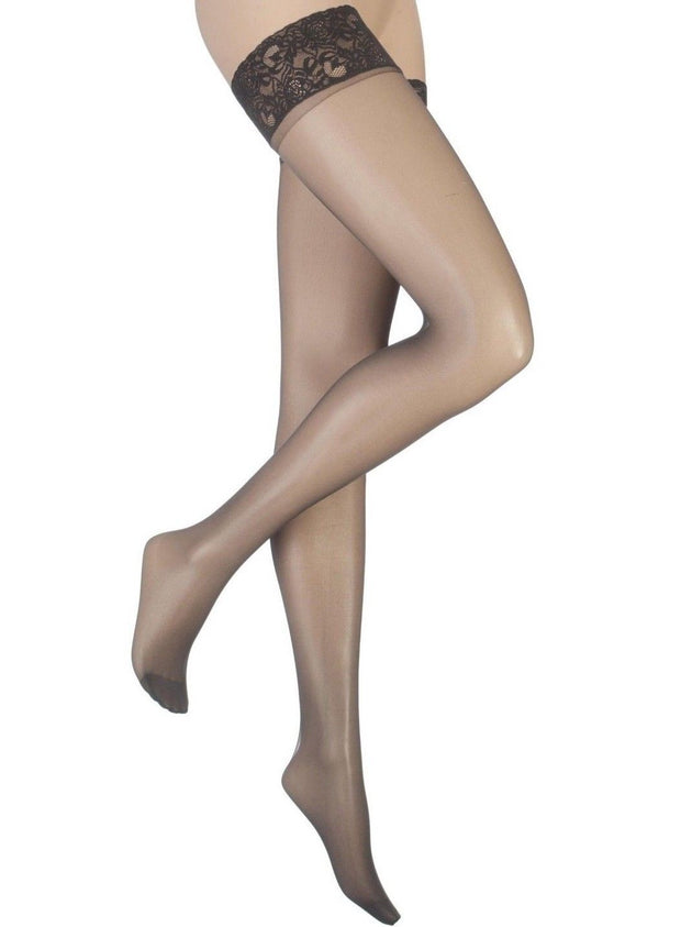 Charnos Run Resist Hold Ups 10 Denier Lace Top Band Reinforced Toes