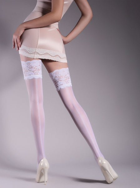 Giulia Allure 20 Denier Floral Back Seam Patterned Deep Lace Top Hold Ups #14