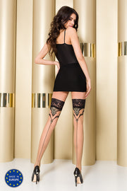 Passion ST109 Hold Ups Contrast Lace Tops Back Seam Pattern Metallic Thread