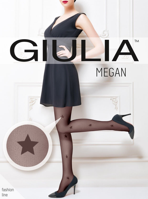 Giulia Megan 40 Denier Star Patterned Mesh Tights Sheer To Waist