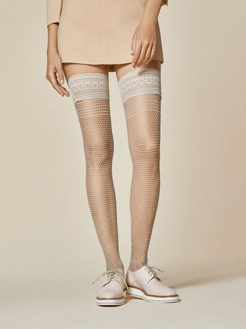 127f88a61 Fiore Risk Circular Fishnet Style 40 Denier Lace Top Hold Ups in Black or  Linen