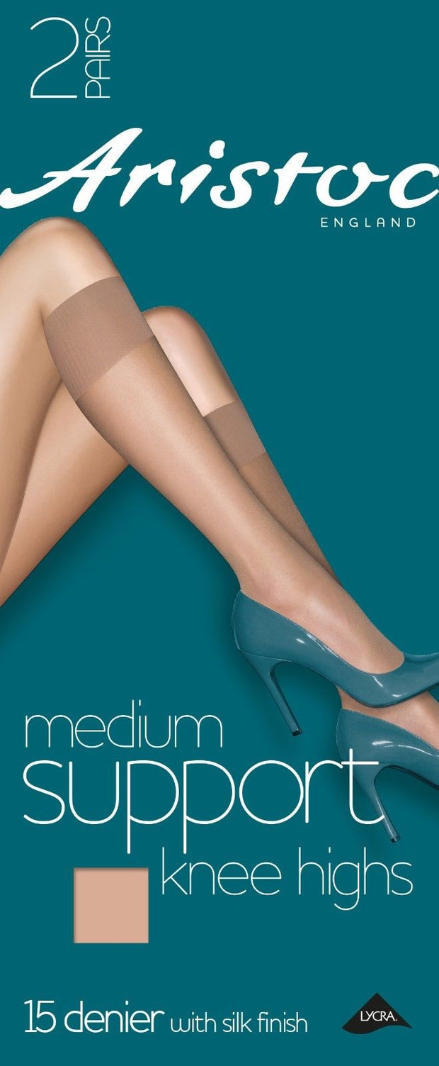 Aristoc Medium Support Knee Highs 15 Denier with Silk Finish 2 Pair Pack