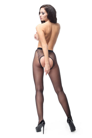 Miss O Large Open Gusset Gloss Tights 20 Denier Bikini Brief Patterned P201
