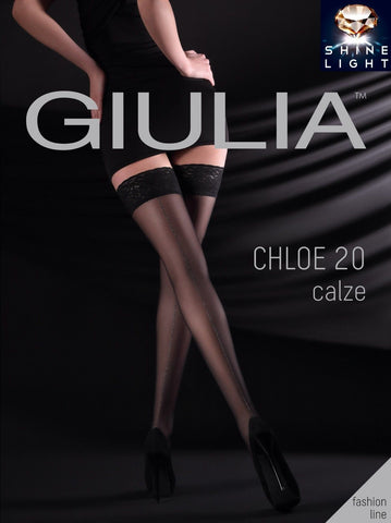 8186fba325d Giulia Chloe 20 Denier Sparkly Silver Back Seam Patterned Hold ups Lace Top