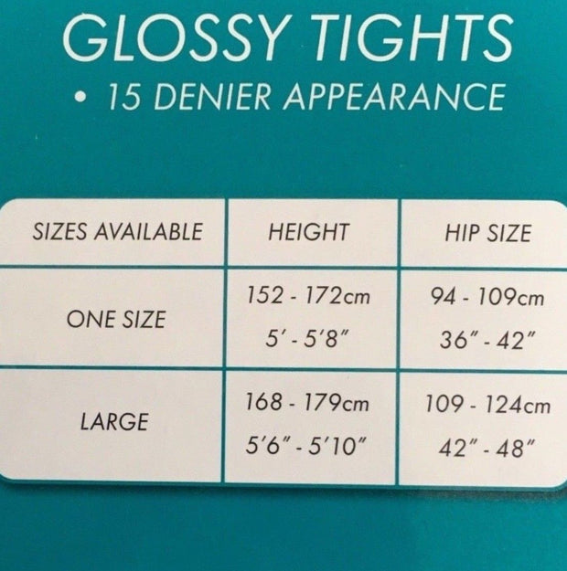 Cindy Sheer Gloss Tights Glossy Pantyhose 15 Denier One Size