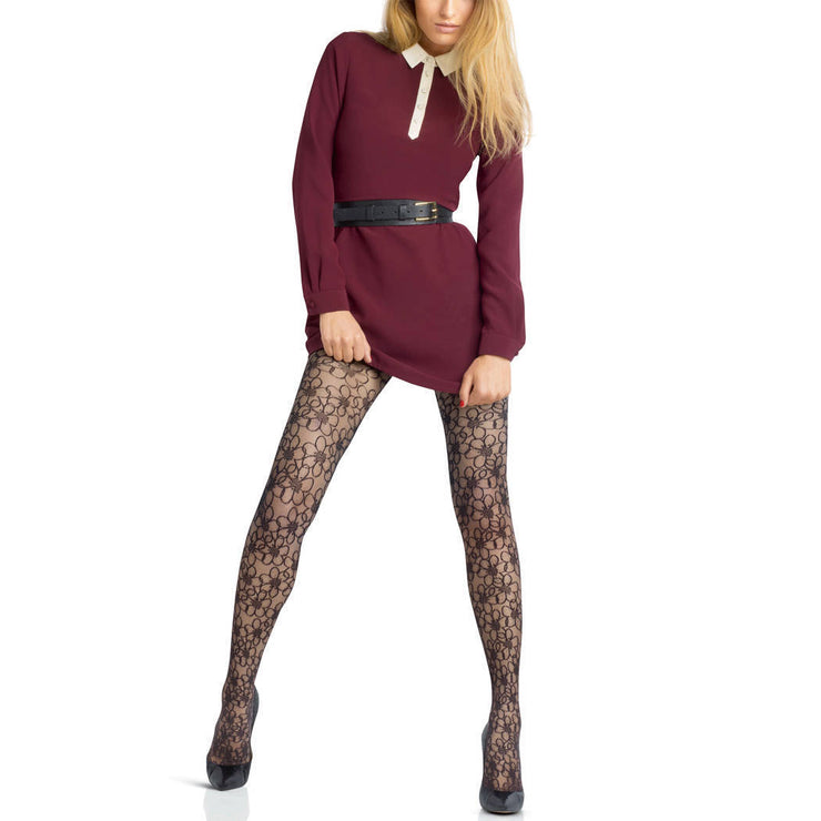 Le Bourget Couture Collant Prestige Micro Tulle Flower Patterned Tights