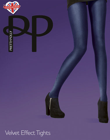 Pretty Polly Velvet Effect Tights 60 Denier Opaque Choice of Navy or Aubergine