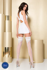 Passion ST107 Hold Ups Lace Tops Back Seam Pattern Silver Metallic Thread