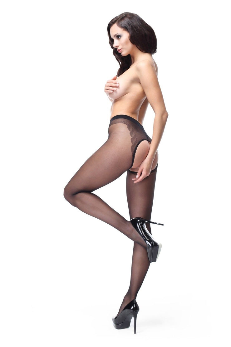 Large Open Gusset Gloss Tights 20 Denier - P201