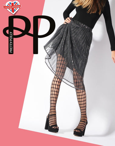 b7b5f096f53 Pretty Polly Oblong Net Tights Black 1 Pair One Size Black Large Oblong  Fishnet