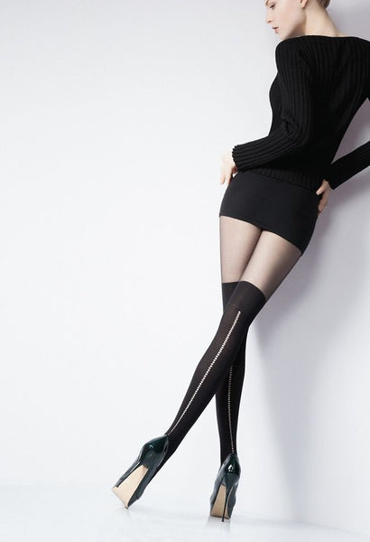 Giulia Hole #4 Model 60/20 Denier Over Knee Opaque & Sheer to Waist Tights